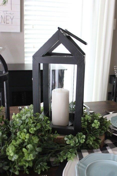 Black Wooden Lanterns Make For The Perfect Dining Table Centerpieces Inspo Faith Fo Lantern Table Centerpieces Lantern Dining Room Centerpiece Lanterns Decor