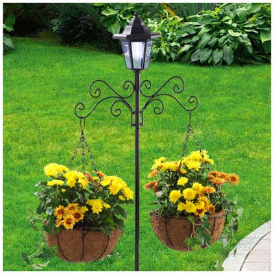 Village Green 5 Solar Lighted Coco Plant Hanger Lamp Post 20 Light Up The Day With Colorful Flowers And Night