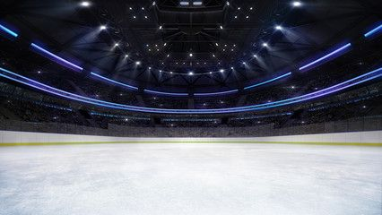 Empty Ice Rink Arena Inside View Illuminated By Spotlights Hockey And Skating Stadium Indoor 3d Render Illustration Background My Own D Ice Rink Arena Indoor