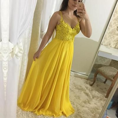 c2e62fa40a08 Elegant Appliques A-Line Yellow Prom Dresses,Long Prom Dresses,Cheap Prom  Dresses, Evening Dress Prom Gowns, Formal Women Dress,Prom Dress ·  FlyinDance ...
