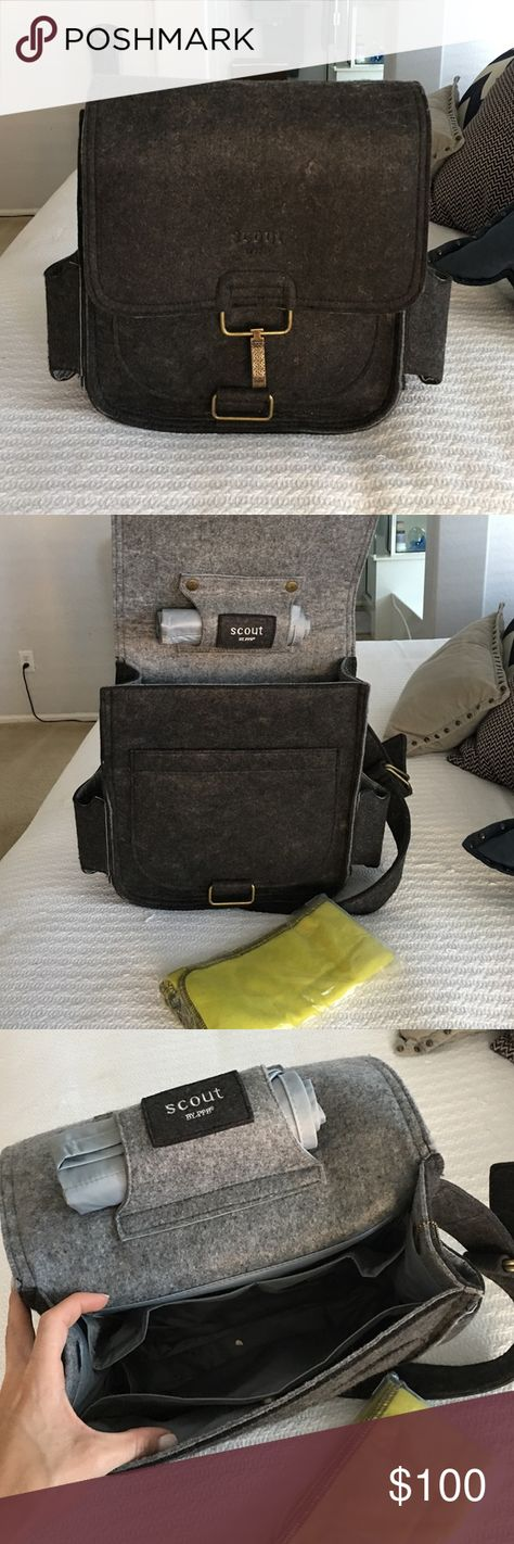 ae56361b92d Petunia Pickle Bottom Men s Scout Diaper Bag Charcoal grey felt messenger  diaper bag for dad.