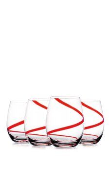 Home Essentials And Beyond Red Swirl Stemless Wine Glasses Set