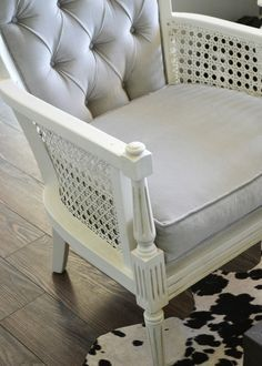 High Quality Vintage Midcentury Cane Chairs Painted White And Reupholstered In Grey  Cotton Velvet.