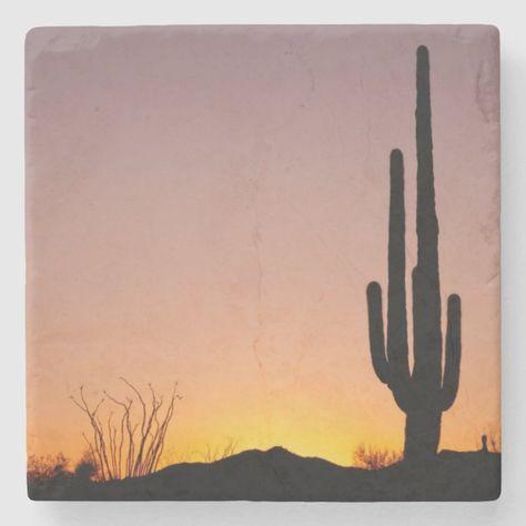 Saguaro Cactus at Sunset Stone Coaster - tap/click to get yours right now! #StoneCoaster #saguaro #cactus, #arizona, #outdoors, #sunset,