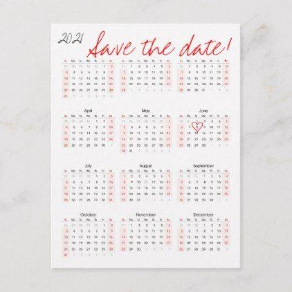 2021 Calendar Save the Date Heart Announcement Postcard | Zazzle