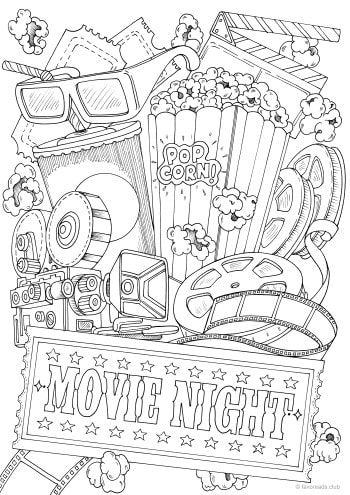 Movie Night In 2020 With Images Printable Adult Coloring Pages
