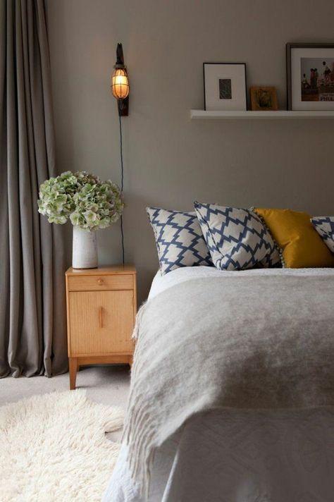 Wandfarben Schlafzimmer Farben Beige Dekokissen Muster Goldocker