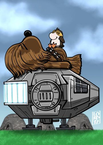 Chewbacca and a porg on the Falcon, drawn as Snoopy and Woodstock Lego Star Wars, Star Wars Witze, Star Wars Jokes, Star Wars Cartoon, Disney Star Wars, Chewbacca, Snoopy Love, Snoopy And Woodstock, Boba Fett