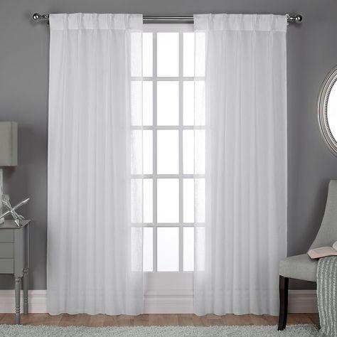 Exclusive Home 2 Pack Belgian Textured Sheer Pinch Pleat Window