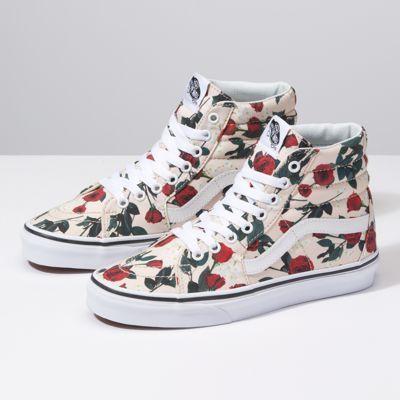 7e65161124 Roses Sk8-Hi High Top Vans Outfit