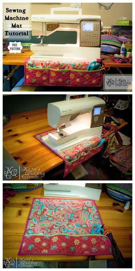 Wonderful Totally Free sewing hacks pockets Thoughts DIY Sewing Machine Mat with Pockets Free Sewing Pattern Sewing Machine Quilting, Sewing Machine Projects, Sewing Machine Tables, Small Sewing Projects, Sewing Projects For Beginners, Sewing Machines, Sewing Machine Covers, Sewing Patterns Free, Free Sewing