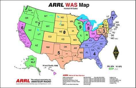 ARRL Frequency Chart Of US Amateur Radio Bands Free - Us maidenhead grid square map