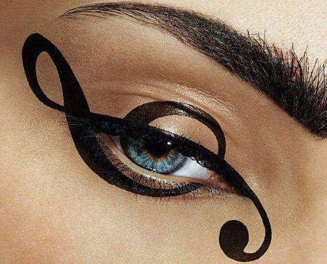 Treble clef music eye make up Makeup Art, Beauty Makeup, Eyeliner Makeup, Eyeliner Ideas, Makeup Style, Eyeliner Designs, Black Eyeliner, Kiss Makeup, Makeup Lipstick