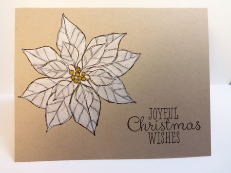 Stampin' Up! ... handmade Christmas card ... kraft ... clean and simple ... one layer ... giant poinsettia stamped in black and colored white ... like the rustic feel of this card ...