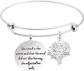 Awegift Inspirational Bracelet She Stood in The Storm and When The Wind did not Blow her Way she Adjusted her Sails