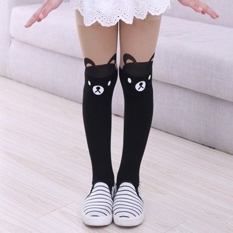 Bueatiful Heart Pattern Cute Children Kids Girls Soft Knee Legging Socks