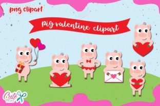 Pig Love Clipart Set Graphic By Cute Files Creative Fabrica Animal Valentine Clip Art Graphic Illustration