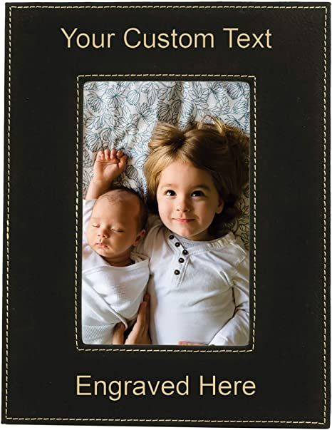 Black Corporate Gifts Engraved Photo Frame Personalized Gifts Personalized Leatherette Photo Frame 5x7 or 8x10 Custom Photo Frame