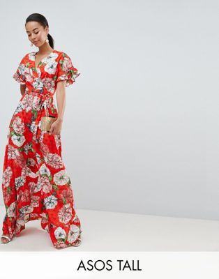a241afed798 DESIGN Tall ruffle wrap maxi dress in floral jacquard   Tall ...
