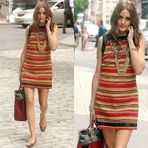 9dc4d7d7fd9 Olivia Palermo in Free People New Romantics Tapestry shift dress ...