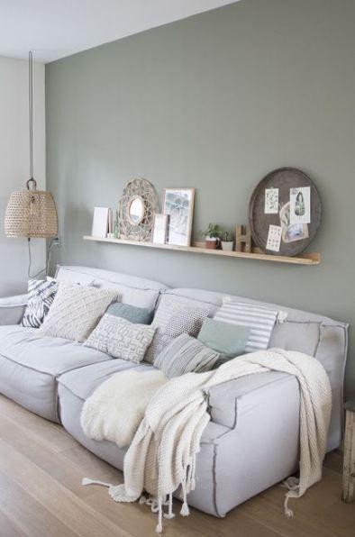 sage green wall, living room ideas
