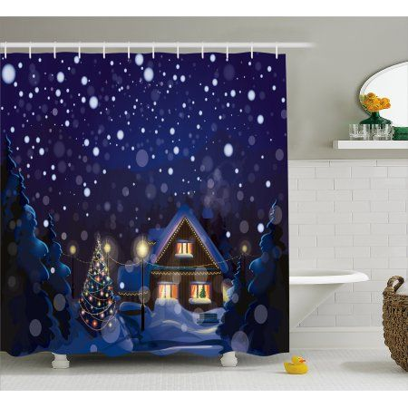 Christmas Shower Curtain Winter Night Country Landscape With