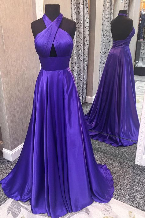 df7e63d6307 Simple Purple Prom Dresses 2018 Halter New Elastic Satin Long Prom Party  Gowns with Slit  purple  promdress  halter  evening  sexypromdress   partydress ...