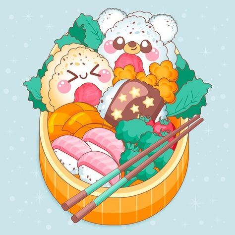 Download Kawaii Faces On Bento Japanese Lunchbox for free