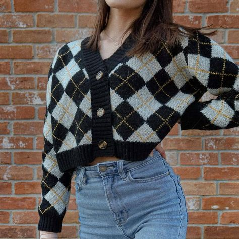 SHEIN Button Up Argyle Crop Cardigan