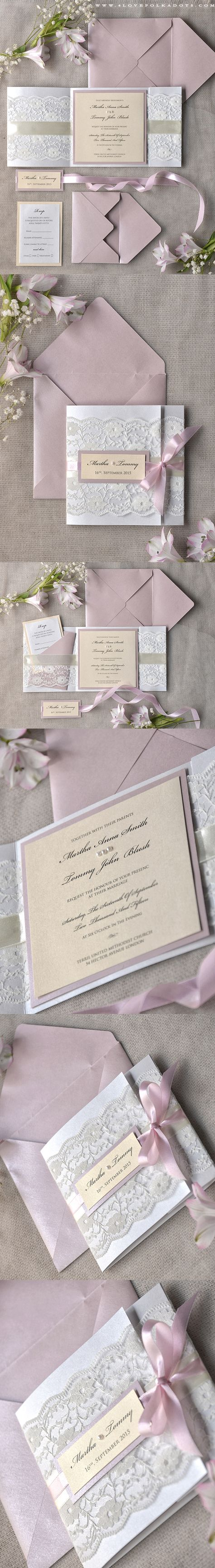 White Pink Elegant Romantic Wedding Invitation Laser Cut Lace