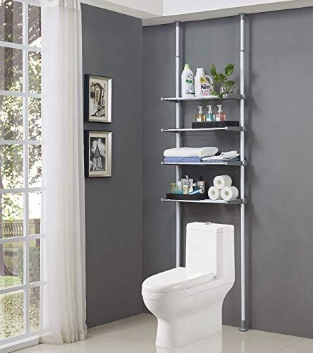 Amazing Offer On Allzone 4 Tier Over Commode Shelving Over The Toilet Storage Rack No Drilling Easy Assemble Height Width Adjustable Online Annetrendyfa In 2020 Toilet Storage Storage Rack Bathroom Organisation