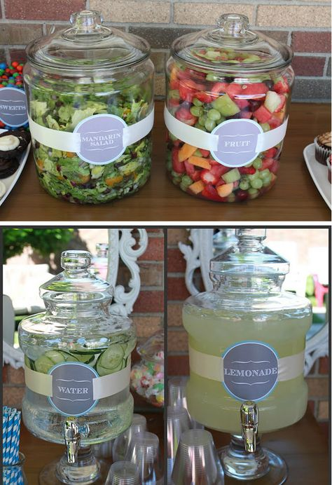 What a neat idea when you host a Summer Cookout party Ideas. love the labels and… What a neat idea when you host a Summer Cookout party Ideas. love the labels and the lids keep the flies and bugs out. Summer Bbq, Summer Parties, Snacks Für Party, Bbq Food Ideas Party, Party Drinks, Parties Food, Cookout Party Foods, Summer Party Foods, Bbq Drinks