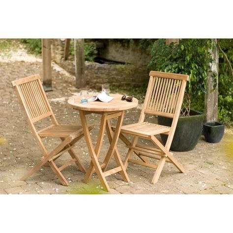 Ensemble En Teck Table Ronde Pliante De Jardin Et 2 Chaises