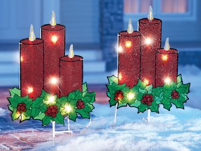 Lighted Outdoor Christmas Candle Garden Stakes- Set of 2