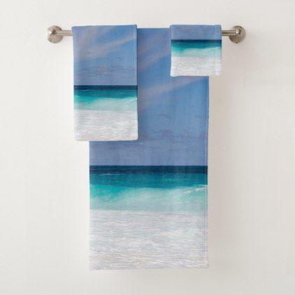 Photo Blue Turquoise Aqua White Beach Bath Towel Set Zazzle Com