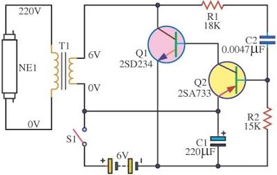 Easy 6v Fluorescent Light Electronics Circuit Fluorescent Light Circuit Diagram