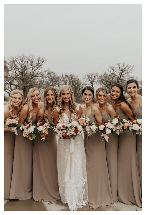 Winter Wedding Bridesmaids, Winter Bridesmaids, Neutral Bridesmaid Dresses, Bridesmaid Poses, Azazie Bridesmaid Dresses, Taupe Wedding, Dream Wedding, Neutral Wedding Colors, Bridal Party Color Schemes