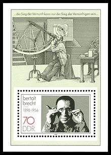 Stamp from the former East Germany depicting Brecht and a scene from his Life of Galileo.