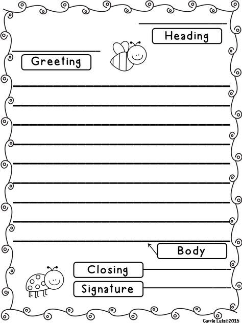 Friendly Letter Templates With Envelope Writing Outline Letter