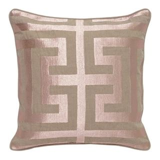 Carson Carrington Ranglebyn Embroidered 22 Inch Throw Pillow Blush Pink Natural Linen Geometric In 2020 Rose Gold Pillow Gold Pillows Linen Throw Pillow