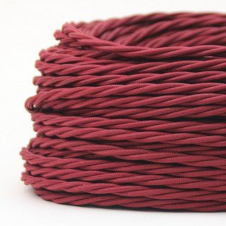 Textilkabel Stoffkabel Bordeaux 3 Adrig 3x0 75 Gedreht Verseilt Einzeln Umflochten Textilkabel Textil Kabel