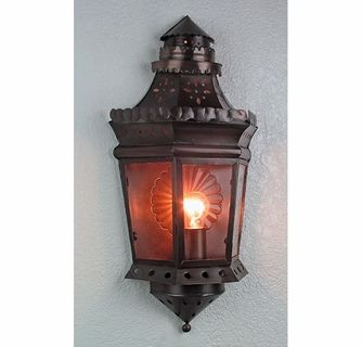 Aged Tin Glass Colonial Wall Sconce Sconces Wall Sconces Colonial
