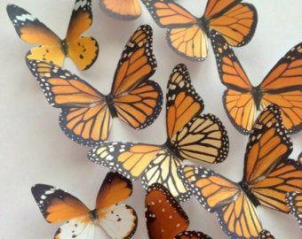 Monarch Vlinder 3d Wand Decoratie Decoratieve Vlinders Etsy Monarchvlinder 3d Kunst Aan De Muur Papieren Vlinders