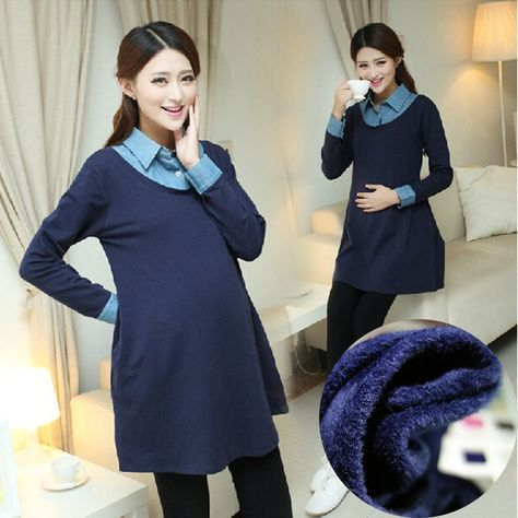 a56ae414fec Navy blue Maternity Dress Autumn Winter turn down collor Dresses for Pregnant  Women warm fleece Maternity Clothing Pregnancy  Affiliate