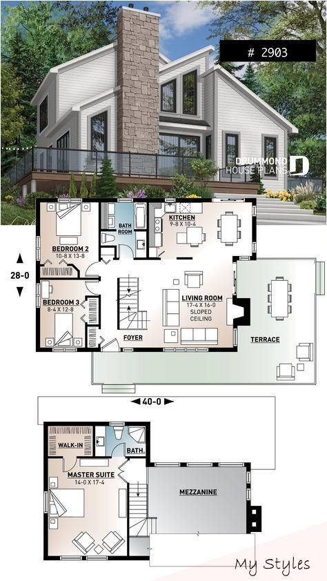 Modern Panoramic Chalet House Plan With Private Second Floor Master Suite 2 Bed Paint Modern House Plans Sims House Plans House Blueprints