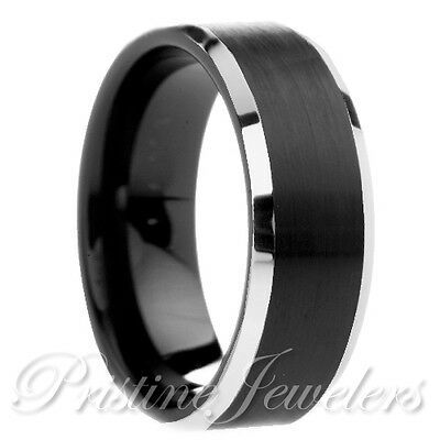 Details About Tungsten Carbide Brushed Black Comfort Fit