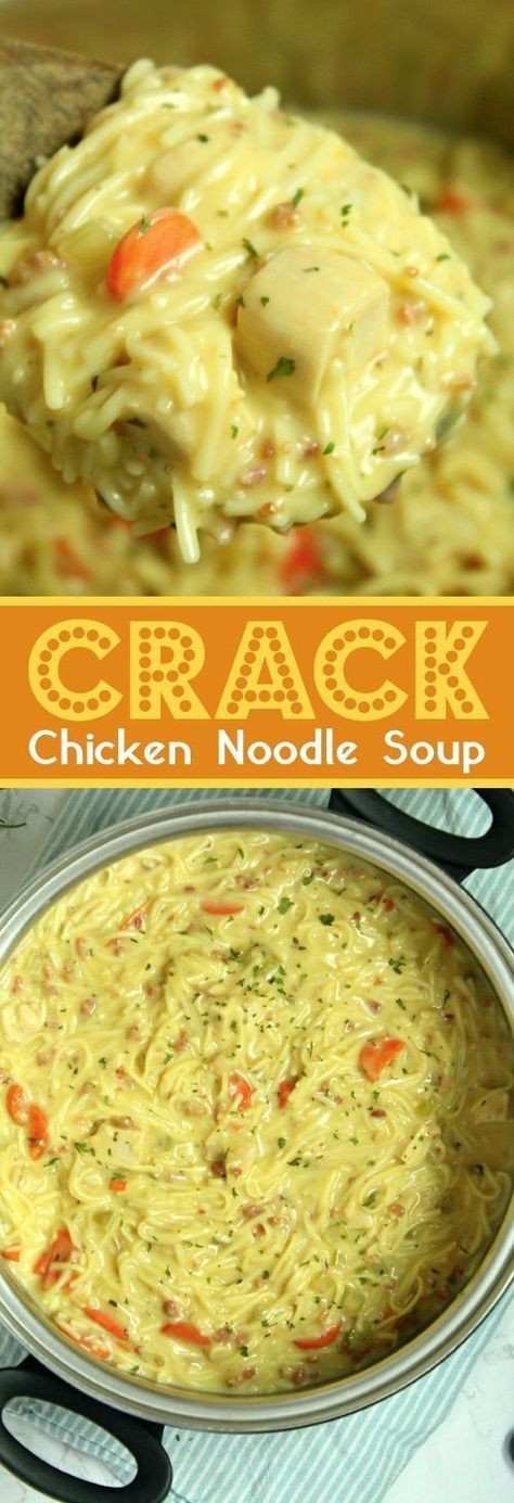 Crack Chicken Noodle Soup This easy homemade chicken noodle soup recipe is super creamy and delicious! The entire family loves it. Add a little cheese and bacon in there to take it up a notch. It will be a new favorite week night dinner recipe. Easy Homemade Chicken Noodle Soup Recipe, Chicken Noodle Soup Ingredients, Crack Chicken Noodle Soup, Recipe Chicken, Chicken Recipes, Chicken Salad, Chicken Sandwich, Chicken Noodle Soup Rotisserie, Homemade Recipe
