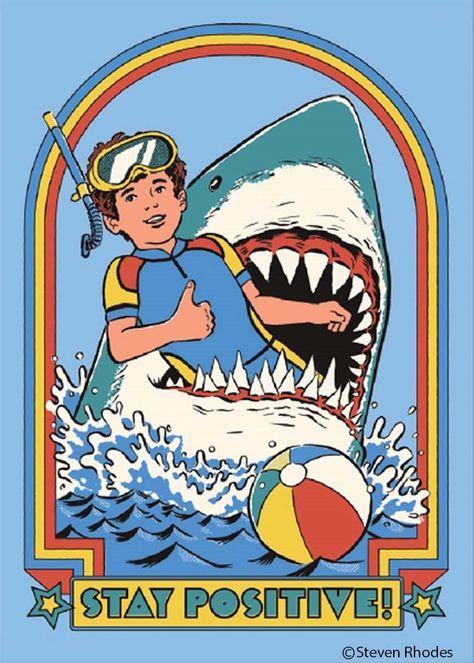 Stay Positive Shark Rectangular Magnet | '80s Children's Book Style Satirical Art