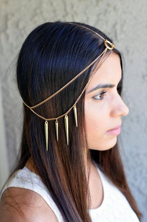Women Fashion Golden Leaf Head Chain Jewelry Headband Head Piece Hair band AH