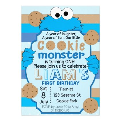 Cookie Monster First Birthday Invitation Birthday Gifts Party Celebration Custo Monster 1st Birthdays Cookie Monster Birthday Party Monster Party Invitations
